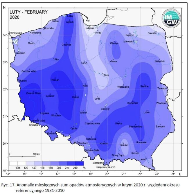 Anomalie miesięcznych opadów w lutym 2020 względem okresu 1981-2010 (klimat.pogodynka.pl)