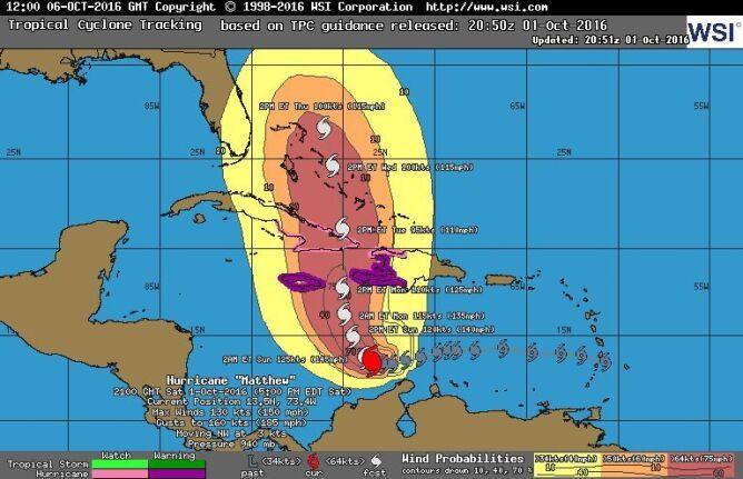 Prognoza przemieszczania się huraganu Matthew