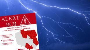 Alert RCB. Wysłano go także mieszkańcom dwóch powiatów na południu Polski