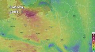 Prędkość porywów wiatru w kolejnych pięciu dniach (ventusky.com | wideo bez dźwięku)